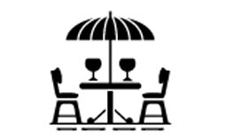 Illustration of patio seating with umbrella