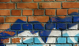 Graffiti on a brick wall