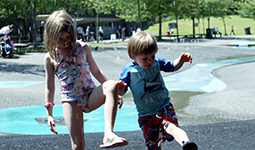 Children playing in a spray park