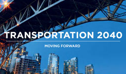 Transportation 2040 Plan cover with Granville Bridge and False Creek