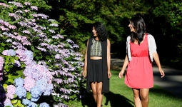 Women walking through rhododendrons
