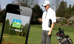 A golfer using the VanGolf mobile app to book tee times and track their play