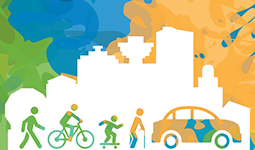 Illustration of pedestrians, cyclists, children, and seniors with Vancouver skyline behind
