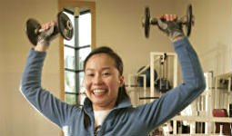 Weight training at West End fitness center in downtown Vancouver