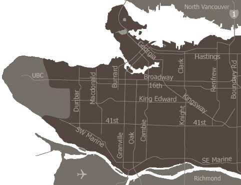 Vancouver areas map