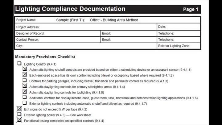 Lighting Compliance Doc (Sample - Bldg Area Method)